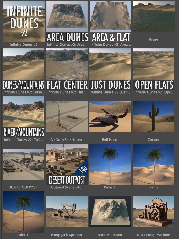 Infinite Dunes content browser menu