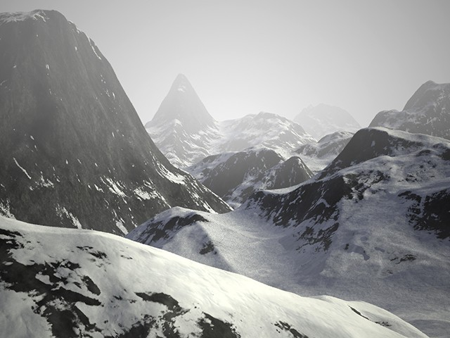 Render of Infinite Mountains scene using fog feature