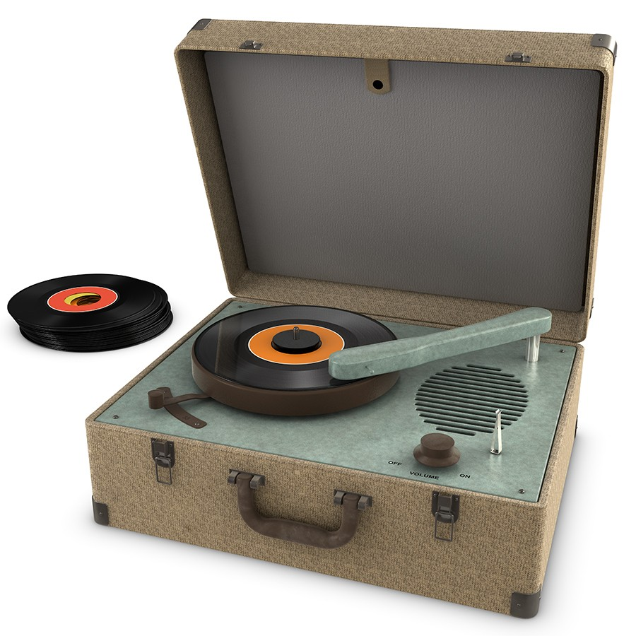 Record player with 45s